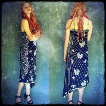 Vintage black silk dress /silver seqin beaded butterflies and stars party gown /hi lo scallop hem