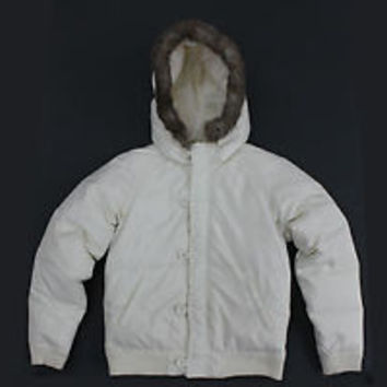Womens Juicy Couture White Down Puffy Jacket Faux Fur Hood size (S)
