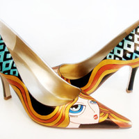 Blond Girl Heels - Hand Painted Shoes