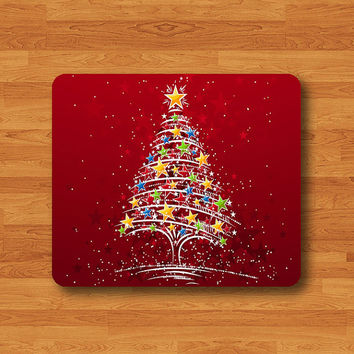 Christmas Glitter Tree Red Twiggle Mouse Pad Mat Wood Pattern Help Desk Deco Rubber Gift