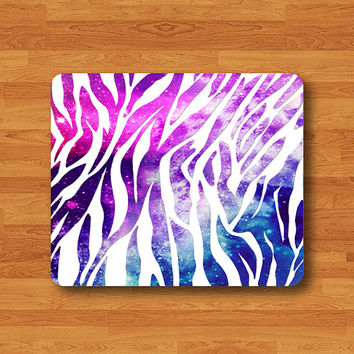 Zebra Galaxy Nebula Vintage Star Space White Striped Hipster Pattern Mouse Pad MousePad Desk Deco Work Pad Mat Rectangle Personal Gift
