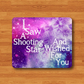 Text  Wished For You When I Saw Shooting Star Galaxy Quote Mouse Pad MousePad Desk Deco Work Pad Mat Rectangle Personal Nasa Christmas Gift