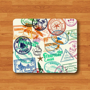 Beautiful Stamp TRAVEL Pump Seal Mouse Pad Big City Summer Surfing Beach MousePad Desk Deco Work Pad Mat Rectangle Personal Gift Christmas