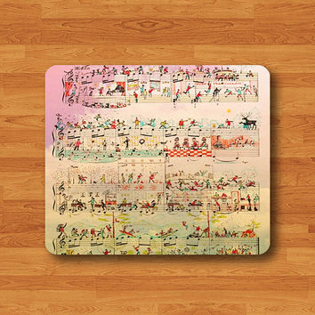 Funny Pastel Sheet Music Party Mouse Pad Vintage Cartoon Printed MousePad Rectangle Rubber Mat Personalized Gift Desk Deco Computer Pad Gift