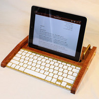 iPad Workstation - Keyboard - Tablet  Dock  - Oak -  iPad, IPhone, Tablet Bluetooth Keyboard Computer Desktop Workstation