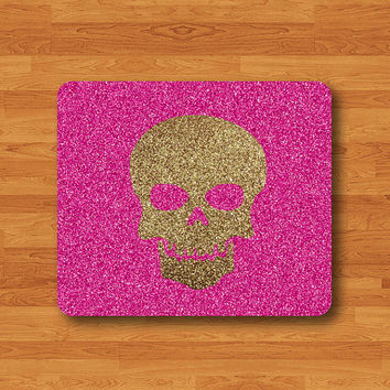 Gold Skull Drawing Glitter Pink Pattern Background Mouse Pad Black Drawing Desk Deco Rubber Computer MousePad Personal Gift Hipster