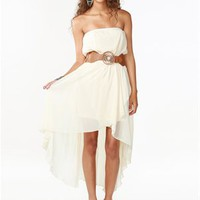 A'GACI Hi-Lo Chiffon Belted Wrap Dress - DRESSES