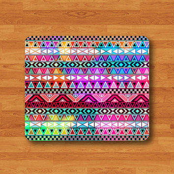 Aztec Rainbow Color Geometric Drawing Mouse Pad Vintage Colorful MousePad Rectangle Matt Personalized Gift Desk Deco Office Work Gift Art