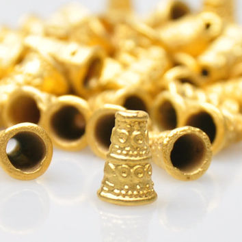 5 Pieces Matte Gold End Bead Caps, Gold Jewelry Spacer Beads, Jewelry Findings, Boho Jewelry Findings, Cord End Caps