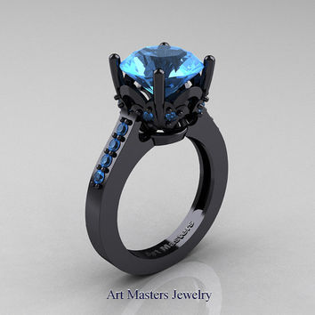 Classic 14K Black Gold 3.0 Carat Blue Topaz Solitaire Wedding Ring R301-14KBGBT