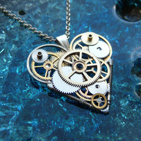 "Clockwork Heart Necklace ""Timeless"" Elegant Industrial Heart Steampunk Necklace Mechanical Love Sculpture by A Mechanical Mind"