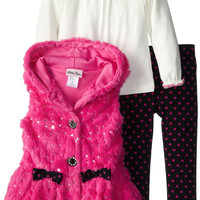 Boutique Little Girls 3 Piece Fur Vest Set Hooded Sequin