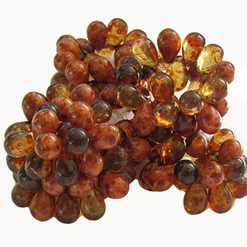 Czech Glass Beads Drops 9mm Amber Pink Picasso Mix Strand 25 Pieces  B702