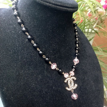 Gorgeous Designer Inspired Dainty Pearl Crystal  Pendant Necklace