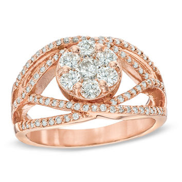 EFFY™ Collection 1 CT. T.W. Diamond Flower Orbit Ring in 14K Rose Gold