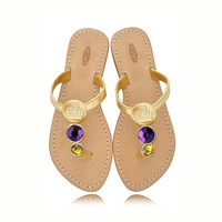 LSU Tigers Ladies Jewel Embellished Flat Sandals-With Large Purple Jewel and Small yellow Jewel
