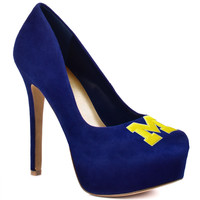 2014-2015 Michigan Wolverines High Heel Suede Pumps by HERSTAR
