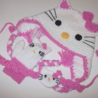 Crochet Kitty Hat and kitty gloveshair band by myknittingworld
