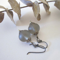 Glass Bead Earrings - Frosted &amp;quot;Sea Glass&amp;quot; Rondelles in Gray by 636designs