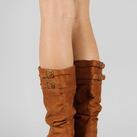 Soda Trunk-S Suede Slouchy Flat Mid Calf Boot