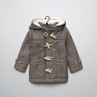 herringbone duffle coat with toggles - Coats - Baby boy (3-36 months) - Kids - ZARA United States