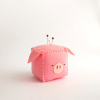 Cube Pig Pincushion, stuffed and soft toy, MADE TO ORDER