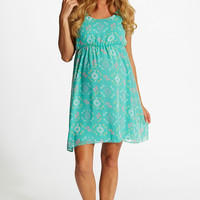 Mint Green Tribal Printed Chiffon Maternity Dress