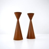 Danish Modern Myrtle Wood Candle Holders, Kenneth E. Molitor, Made in Oregon, Conical Taper Candlesticks, Vintage Mid Century Modern Decor