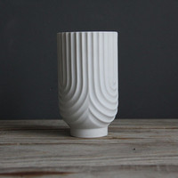 German Modernist Matte Porcelain OP Art Vase by Heinrich