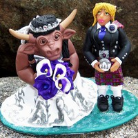 Get your  unique custom personalized wedding cake topper from CreativeCritters!