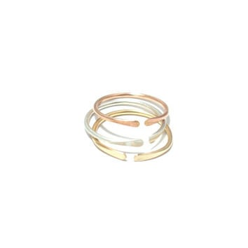 Stacking Rings- Adjustable- in Sterling Silver, 14K Rose Gold Fill, and 14K Gold Fill