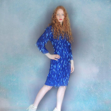 Vintage embellished party dress / Dripping encrusted beads and waterfall sequins / vivid violet cobalt gown / 80s cocktail dress