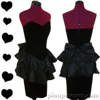 Vintage 80s Black Strapless Cocktail Tiered Ruffle Prom Party Dress M
