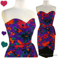 Vintage 80s AJ Bari Dress Silk Floral Strapless Party Prom XS S