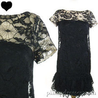 Vintage 60s Illusion Black Lace Ruffle Cocktail Party Dress S M