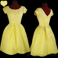 Vintage 50s 60s Yellow Prom Pinup Swing Party Dress XXS XS