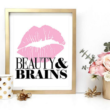 Quote Print, Beauty And Brains, Typography Print, Digital Wall Art, Home Decor, Glam, Quote Printable, Instant Download, Digital Print