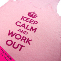 Keep Calm and Work Out Eco Pink Heather Racerback Tank Top Flowly Fitness Alternative Apparel Free Shipping