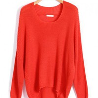 Neon Red Batwing Jumpers with Dip Hem
