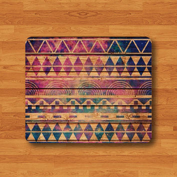 Aztec Wood Galaxy Wooden Geometric Shape Tribal Indian Art Triangle Mouse Pad MousePad Desk Deco Work Pad Mat Rectangle Personal Gift