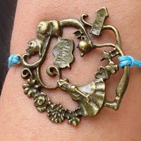 alice,cat,teapot,flower,heart,Small conch bracelet, wax cord bracelet,