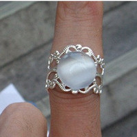 White Opal Ring With Rhodium Plated Filigree Adjustable Band