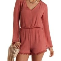 Crochet-Trim Long Sleeve Romper by Charlotte Russe - Dusty Rose Combo