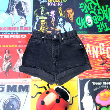 Vintage Denim Cut Offs - 80s Black Denim WRANGLER Brand Jean Shorts - High Waisted Cut Off, Frayed, Rolled up, Cuffed Shorts Size 4 Small S