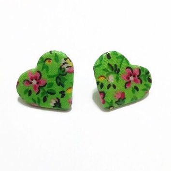 Bright Green Floral Fabric Wooden Heart Earrings