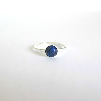 Lapis Lazuli Ring in Sterling Silver, Lapis Stacking Ring, Round Bezel Ring, Gemstone Ring, Deep Blue, Cabochon Ring, Size 6.5