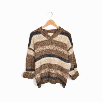 Vintage Striped Wool Blend Sweater - women's large