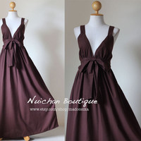 Long Brown Maxi Dress Elegant Vstyled Neck Love by madoosika