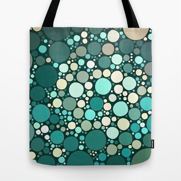 teal dots Tote Bag by Sylvia Cook Photography