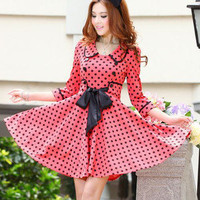 Vintage Insp Rockability Polka Dot Swing Dress in Red AU17511 US2 UK6 EU34